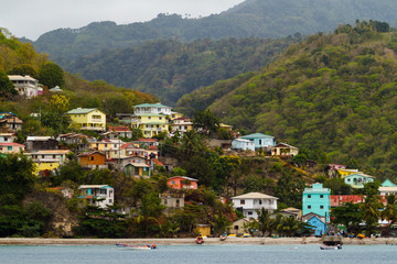 A View of a Seaside Village from a Boat, in St. Lucia
