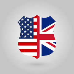 US and UK flags icon in the shape of a police badge.. American and British friendship symbol. Vector illustration.