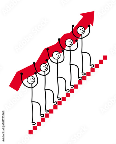 5 Men Carry A Red Arrow Up The Stairs Symbol Of Growth Development