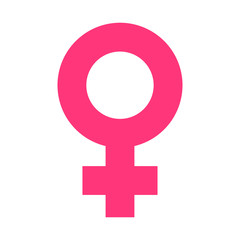 Female sex symbol vector icon in flat style. Women gender illustration on white isolated background. Girl masculine business concept.