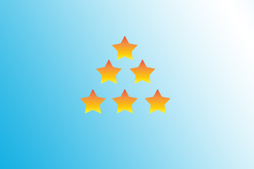 Five stars drawn or created on a gradient of yellow color.