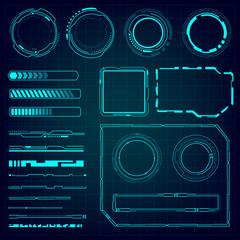 UI hud infographic interface web elements. Futuristic space thin HUD user interface. Web interface elements. Game target navigation interface hud ui design