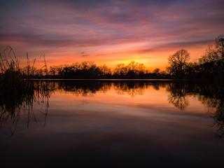 Spring Sunset. Humboldt Park Lagoon, Chicago, USA.