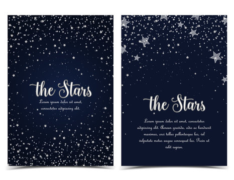 Vector illustration of stars on a dark background. Night sky. Cheerful party and celebration