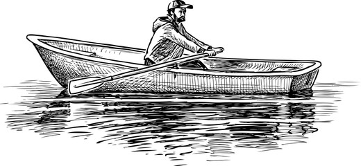 Sketch of a man with oars in a boat