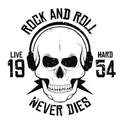 Rock and roll t-shirt graphic design with skull in headphones and lightning. Rock music slogan for t-shirt print and poster. Vintage skull with grunge texture