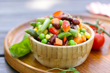 vegetable mix garnish with beans and green peas
