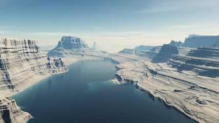 canyon with a river, a rocky landscape, 3D rendering