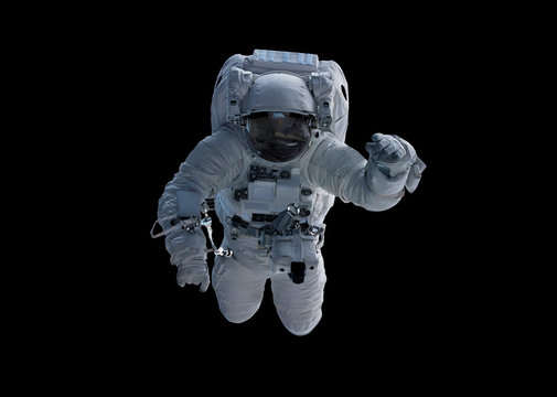 Astronaut isolated on black background 3D rendering elements of this image furnished by NASA