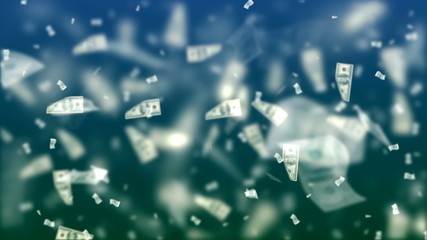 Flying Dollars. Abstract Background