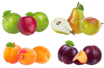 Fototapete - Apples,pears, apricots and plums isolated on white background