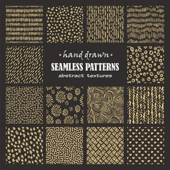Set of seamless hand drawn marker and ink patterns