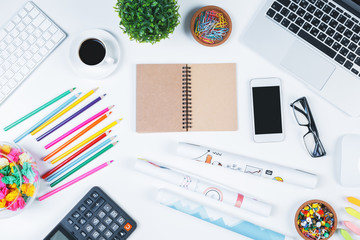 Modern white workplace with items