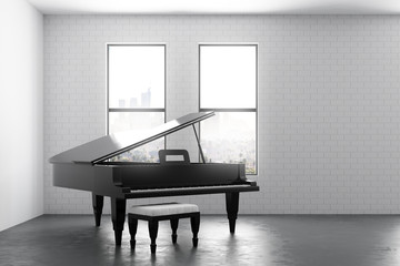 Modern interior with piano and copyspace