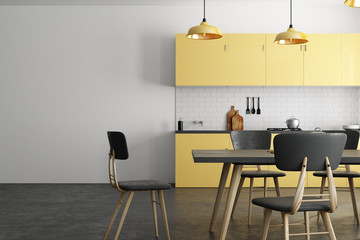 Yellow kitchen with copyspace