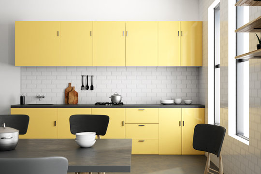 Luxury yellow kitchen interior