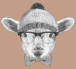 Portrait of Hipster, portrait of Lamb with sunglasses, hat and bow tie,  hand-drawn illustration