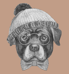 Portrait of Rottweiler with had and bow tie,  hand-drawn illustration