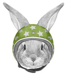 Portrait of Rabbit with helmet,  hand-drawn illustration