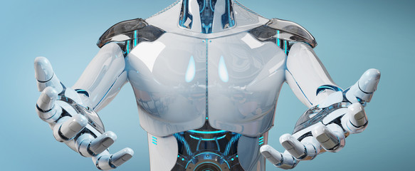 White male cyborg opening his two hands isolated on blue background 3D rendering