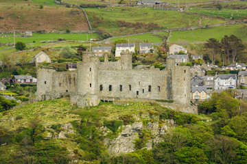 Harlech Castle in West Wales UK built in 1289 by Edward the First of England after his invasion of Wales it is now classified as a world heritage site