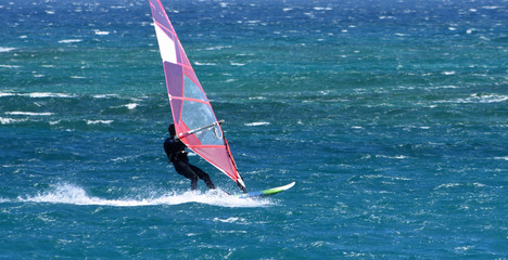 Windsurfer  travelling  at speed on the Ocean.