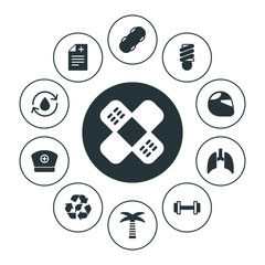 health, sports, nature Infographic Circle fill Icons Set. Contains such Icons as nurse,  nature, motor, recycle,  girl,  green,  motorcycle, skateboarding, palm and more. Fully Editable. Pixel Perfect