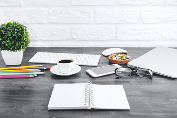 Modern wooden desktop with items