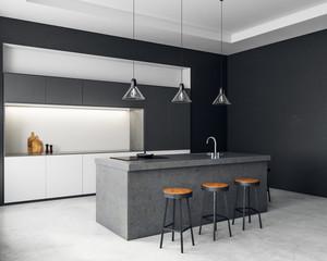 Fototapete - Contemporary dark kitchen interior