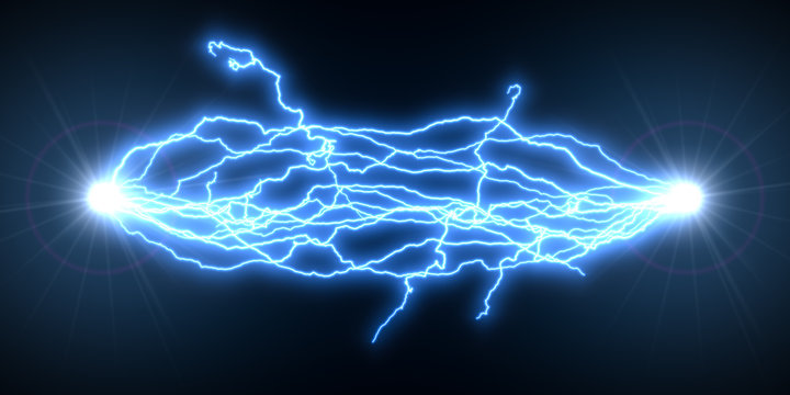 blue electric arcs. 3d illustration