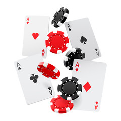 Falling aces and casino chips with isolated on white background. Playing cards, red and black money chips fly. The concept of winning or gambling. Poker and card games. Vector 3d illustration.