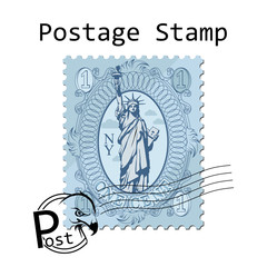 The Statue of Libertyon white background. Travel stamp of New York. Monument in USA. Vector graphics to design.