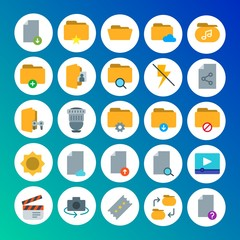 Modern Simple Set of folder, video, photos, files Vector flat Icons. Contains such Icons as folder, hidden, film, paper,  computer,  file and more on gradient background. Fully Editable. Pixel Perfect