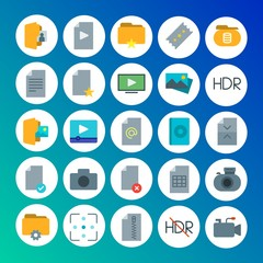 Modern Simple Set of folder, video, photos, files Vector flat Icons. Contains such Icons as  white,  photo,  technology, cinema,  data and more on gradient background. Fully Editable. Pixel Perfect
