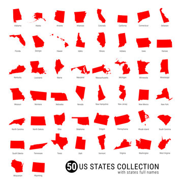 50 US States Vector Collection. High-Detailed Red Silhouette Maps of All 50 States. US States with Full Names