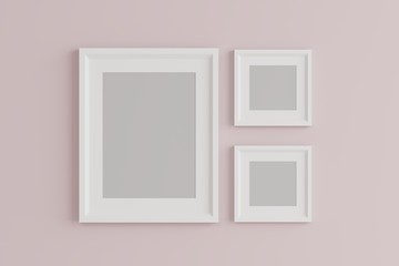 group of blank empty picture frame on the wall.