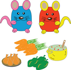two mouses with food
