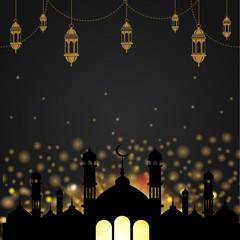 Ramadan Kareem greeting card with mosque and arabic lamps. Vector.