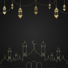 Ramadan Kareem greeting card with mosque and arabic lamps. Vector.