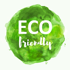 eco friendly on green watercolor background illustration
