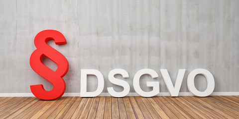 DSGVO Basic Data Protection Regulation Concept with red paragraph symbol on grey concrete wall - 3D Rendering