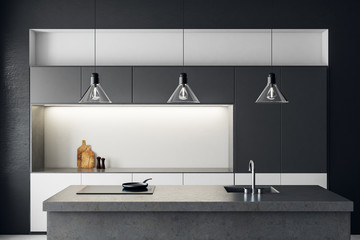 Clean dark kitchen interior