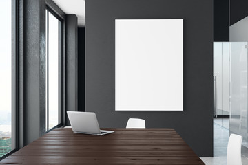 Contemporary office with blank billboard