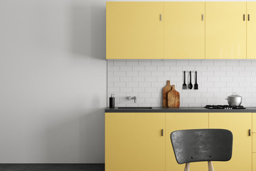 Bright kitchen with copyspace