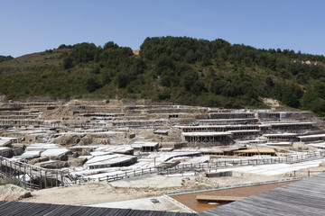 General view of the ancient salt pans in Añana, Basque Country, Spain