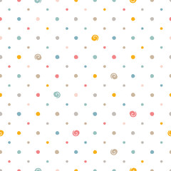 Colorful polka dots on white background. Seamless pattern.