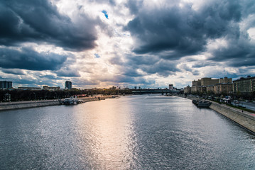 Beautiful view of Moscow river in the evening