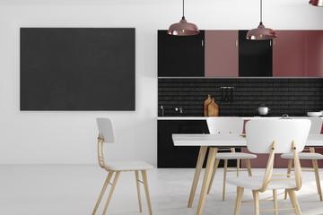 Modern kitchen interior with empty poster