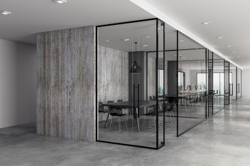 Contemporary coworking office with copyspace