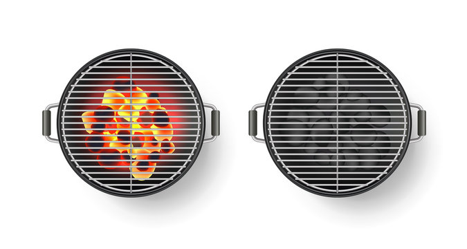 Vector realistic 3d illustration of round empty barbecue grill with hot coal, isolated on white background. BBQ top view
